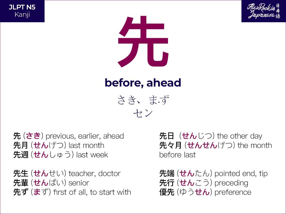 先 (saki, sen) Japanese Kanji Meaning - before ahead